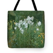 Madonna Lilies In A Garden Tote Bag by Walter Crane