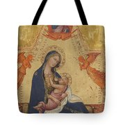 Madonna Of Humility The Blessing Christ Two Angels And A Donor Tote Bag