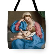 Madonna With The Infant Christ Child Holding A Goldfinch On A String  Tote Bag