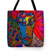 Magdalena On Fire - Mask - Abstract Face Tote Bag