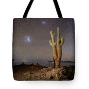 Magellanic Clouds And Forked Cactus Incahuasi Island Bolivia Tote Bag