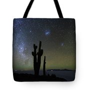 Magellanic Clouds Milky Way And Cactus Silhouette Incahuasi Island Bolivia Tote Bag