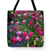 Magenta And White Tulips Tote Bag