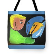 Magical Encounter Between A Boy And Creatures Of The Sea Tote Bag