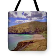 Magical Keem Beach Crowned By Clouds From Heaven Tote Bag