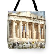 Magnificent Acropolis In Athens Tote Bag