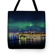 Magnificent Aurora Dancing Over Stockholm Tote Bag