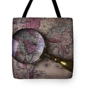 Magnifying  Glass On Old Map Tote Bag