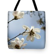 Magnolia Flowers White Magnolia Tree Spring Flowers Artwork Blue Sky Tote Bag