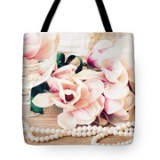 Magnolia Flowers With Pearls Tote Bag