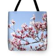 Magnolia Tree Against Blue Sky Tote Bag