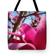 Magnolia Tree Pink Magnoli Flowers Artwork Spring Tote Bag