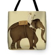 Mahout Riding An Elephant Painting - 18th Century Tote Bag