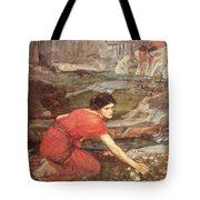 Maidens Picking Flowers By The Stream Tote Bag