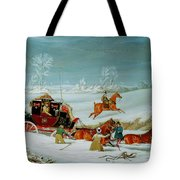 Mail Coach In The Snow Tote Bag by John Pollard
