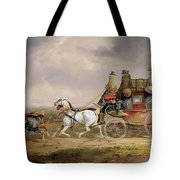 Mail Coaches On The Road - The Louth-london Royal Mail Progressing At Speed Tote Bag