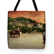 Main Street Mackinac Island Michigan Panorama Textured Tote Bag
