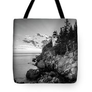 Maine Acadia Bass Harbor Lighthouse In Black And White Tote Bag by Ranjay Mitra