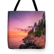 Maine Acadia Bass Harbor Lighthouse Sunset Tote Bag by Ranjay Mitra