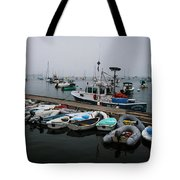 Maine Falmouth Boat Landing On Misty Morning Panorama Tote Bag