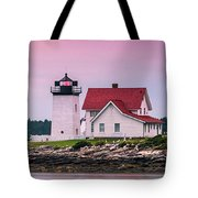 Maine Hendricks Head Lighthouse In Southport At Sunset Tote Bag