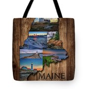 Maine Lighthouses Collage Tote Bag
