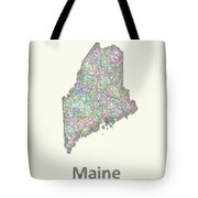Maine Line Art Map Tote Bag