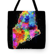 Maine Map Color Splatter 2 Tote Bag
