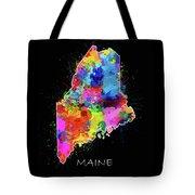 Maine Map Color Splatter 2 Tote Bag