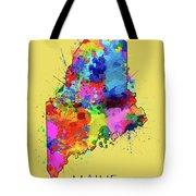 Maine Map Color Splatter 4 Tote Bag