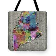 Maine Map Color Splatter 5 Tote Bag