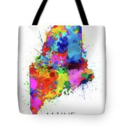 Maine Map Color Splatter Tote Bag