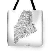 Maine Map Music Notes Tote Bag