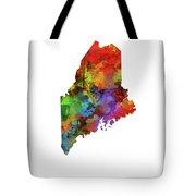 Maine Map Watercolor Tote Bag