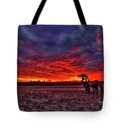 Majestic Red Clouds Winter Sunset The Iron Horse Art Tote Bag