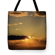 Majestic Vivid Sunset/sunrise With Dark Heavy Clouds And Sunrays Tote Bag