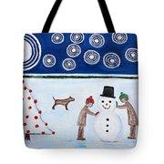Making A Snowman At Christmas Tote Bag