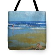 making castles on Salisbury Beach Tote Bag