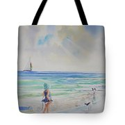 Making Friends At The Beach Tote Bag