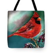 Male Cardinal And Snowy Cherries Tote Bag