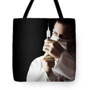 Male Doctor With Needle Syringe On Dark Background Tote Bag