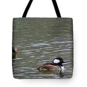 Male Hooded Mergansers Tote Bag