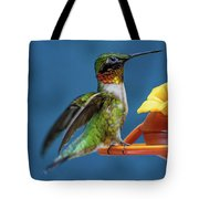 Male Hummingbird Spreading Wings Tote Bag