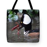 Male Merganser W Crayfish Tote Bag