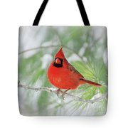 Male Northern Cardinal In Winter - 2 Tote Bag
