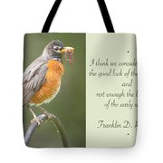Male Robin With Worms In Bill Animal Behavior Tote Bag