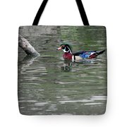 Drake Wood Duck On Pond Tote Bag