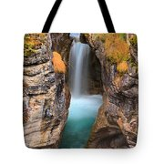 Maligne Canyon Falls Vertical Panorama Tote Bag
