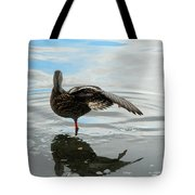 Mallard Duck Hen Stretching Wing Tote Bag