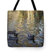 Mallard Ducks On The Canal #1107 Tote Bag